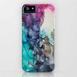 Remembering_ abstract painting , alcohol ink painting iPhone Case