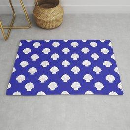 Seashells (White & Navy Blue Pattern) Rug
