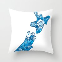new zealand Throw Pillows featuring NEW ZEAlAND  by Jun Arita
