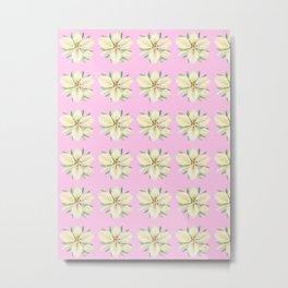 White Lily Pattern on Pink Metal Print