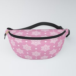 White Christmas Snowflakes pattern on Hot Pink background Fanny Pack