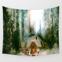 "hobbit Wall Tapestries featuring ""HOBBIT HOUSE"" by FOXART  - JAY PATRICK FOX"