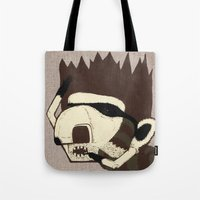 racoon Tote Bags featuring Raino Racoon by René Barth