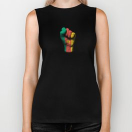 Cameroon Flag on a Raised Clenched Fist Biker Tank