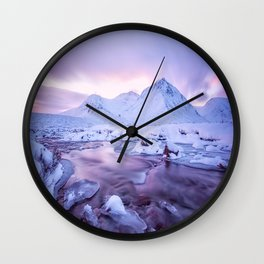 Freezing Mountain Lake Landscape Wall Clock