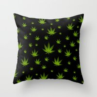weed Throw Pillows featuring Weed Weed Weed by Spyck