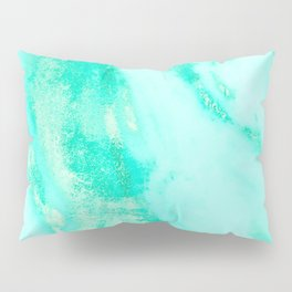 Shimmery Sea Green Turquoise Marble Metallic Pillow Sham