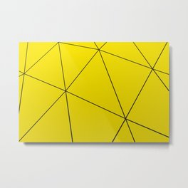 Yellow low poly displaced surface with black lines Metal Print