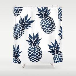 Pineapple Blue Denim Shower Curtain