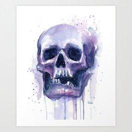 Skull in Watercolor Galaxy Space Art Print