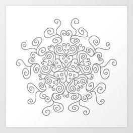 Gray Line Swirl Mandala Art Print