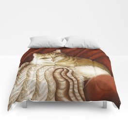 Long-haired cat reclining Comforters