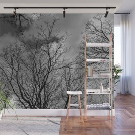 Trees and clouds, black and white Wall Mural