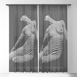 0075-DJA Zebra Seated Nude Woman Yoga Black White Abstract Curves Expressive Line Slim Fit Girl Sheer Curtain