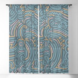 squiggle wiggles 002 Sheer Curtain