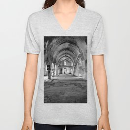 A derelict churh in Northern Cyprus Unisex V-Neck