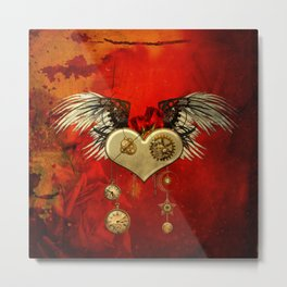 Wonderful steampunk heart with wings Metal Print