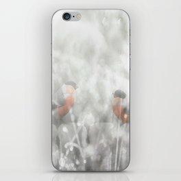 Bullfinch Birds Sitt On The Fence In Grey Winter Day Xmas #decor #society6 iPhone Skin