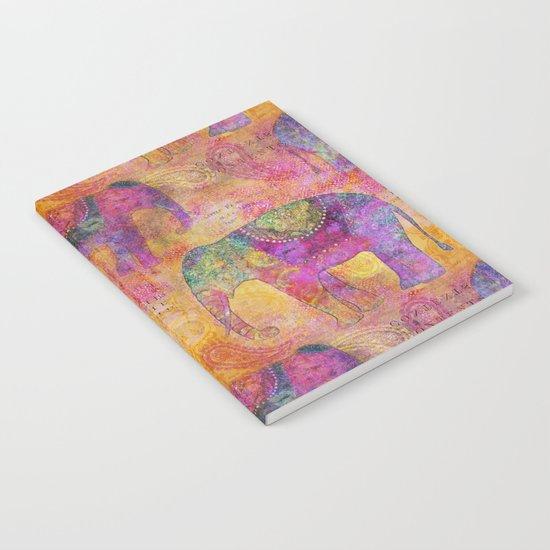 Elephant Pattern colorful orange pink Notebook