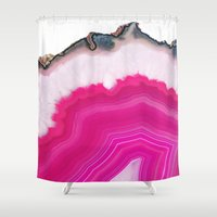 agate Shower Curtains featuring Pink Agate Slice by cafelab