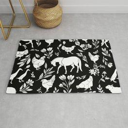 Modern Folk Art Horse Pattern with Botanicals and Chickens Rug