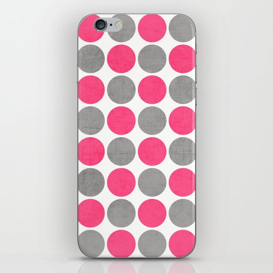 hot pink and gray dots iPhone & iPod Skin