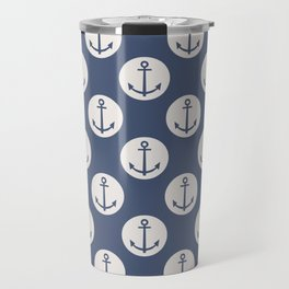 Blue Nautical Ships Anchor Travel Mug