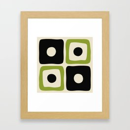 Mid Century Modern Square Dot Pattern 592 Black and Chartreuse Framed Art Print