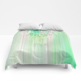 Abstract Cascade Glitch 1.Green Comforters