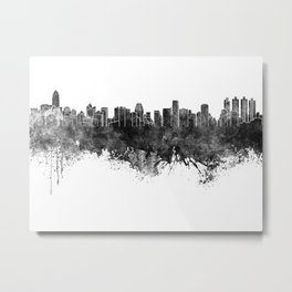Bangkok skyline in black watercolor Metal Print