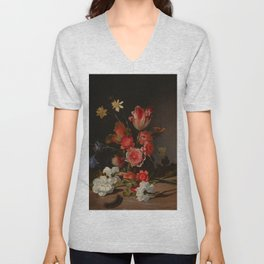 """Dirck de Bray """"Still Life with a Bouquet in the Making"""" Unisex V-Neck"""