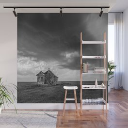 Sweeping Down the Plains - Abandoned House and Storm in Oklahoma Wall Mural