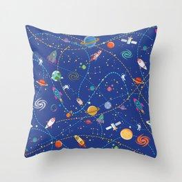 Space Rocket Pattern Throw Pillow
