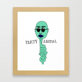 PARTY ANIMAL blue on blue Framed Art Print