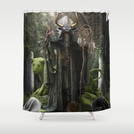 V. The Hierophant Tarot Card Illustration (Color) Shower Curtain