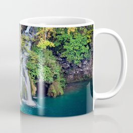 Waterfall And Lake in Autumn Forest Coffee Mug