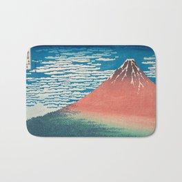 Katsushika Hokusai - Red Fuji Woodblock Print Bath Mat