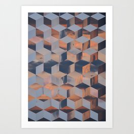 Tumbling Blocks (Sky Quilt 3) Art Print
