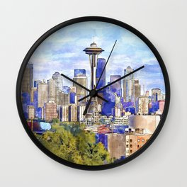 Seattle View in watercolor Wall Clock