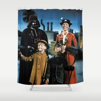 mary poppins Shower Curtains featuring Darth Vader in Mary Poppins by Luigi Tarini