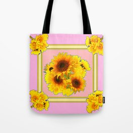 YELLOW SUNFLOWER BOUQUETS ON PINK Tote Bag