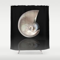 shells Shower Curtains featuring shells by mark ashkenazi