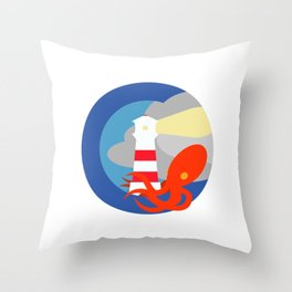 Lighthouse attacked by giant squid Throw Pillow