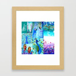 Aqua collage Framed Art Print