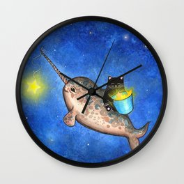 Hanging Stars with a Friendly Narwhal Wall Clock