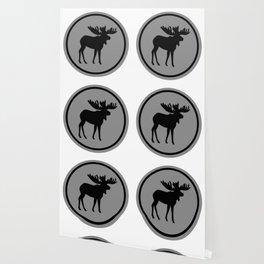Bull Moose Silhouette - Black on Gray Wallpaper
