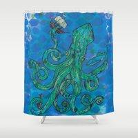 kraken Shower Curtains featuring The Kraken by Inked in Red