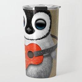 Baby Penguin Playing Chinese Flag Acoustic Guitar Travel Mug
