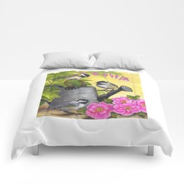 Chickadees and Old Watering Can Comforters