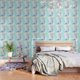 Tribal Mermaid with Ombre Turquoise Background Wallpaper